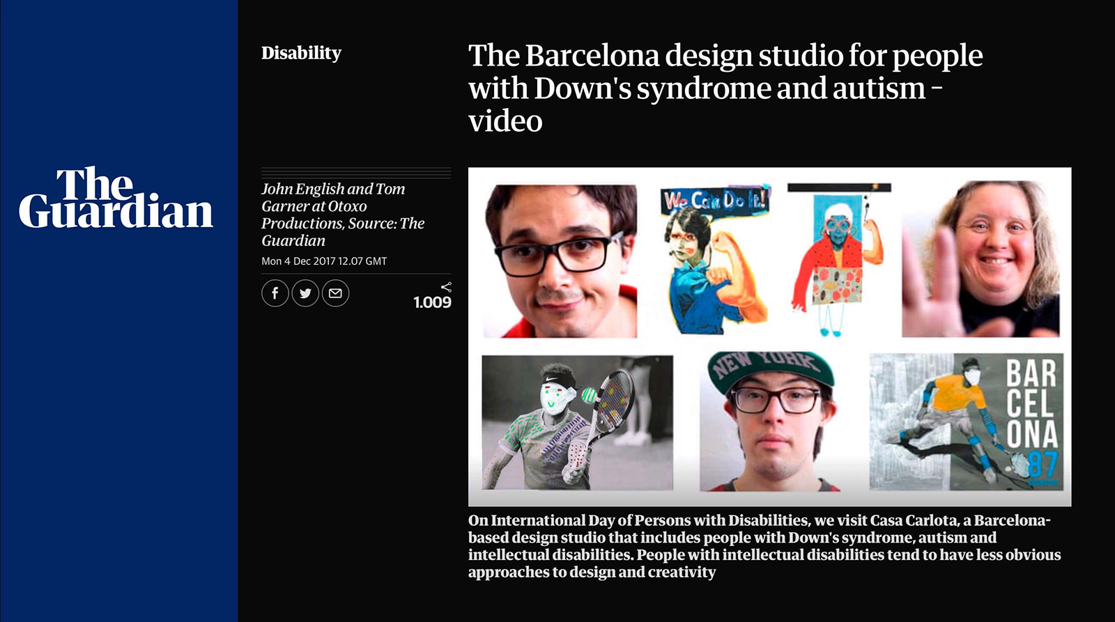 Página del diario inglés The Guardian con video documental de La Casa de Carlota Barcelona.